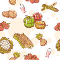 Vegetables hand drawn seamless pattern fresh Royalty Free Stock Photo