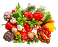 Vegetables and herbs isolated on white background. healthy food Royalty Free Stock Photo