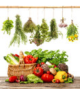 Vegetables and herbs. shopping basket. healthy food Royalty Free Stock Photo