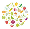 Vegetables icon set in a round shape. Flat style. on white background. Healthy lifestyle, vegan, vegetarian