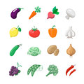 Vegetables icons flat set with potatoes broccoli Royalty Free Stock Photo