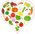 Vegetables icons inside a Heart Stock Images