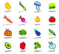 Vegetables icons set Stock Photos