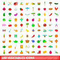 100 vegetables icons set, cartoon style Royalty Free Stock Photo