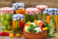Vegetables in jars winter stores Stock Photo