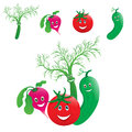 Vegetables laugh the garden radish tomato cucumber and fennel Royalty Free Stock Photography