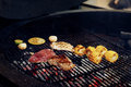 Vegetables and meat grilling. mushrooms corn pepper tomatos gar Royalty Free Stock Photo