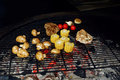vegetables and meat grilling. mushrooms corn pepper tomatos garlic on grill. catering in food court at mall concept. space for te Royalty Free Stock Photo
