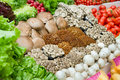 Vegetables and mushrooms in supermarket Stock Images