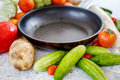 Vegetables near to the pan Royalty Free Stock Photo
