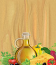 Vegetables, olive oil, wood Stock Image
