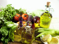 Vegetables and oliveoil Royalty Free Stock Image