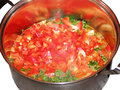 Vegetables in a pan peppers tomatoes and parsley cooked Stock Images