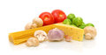 Vegetables, pasta, mushrooms and cheese Royalty Free Stock Photography