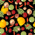 Vegetables pattern on black Stock Images