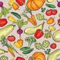 Vegetables pattern. Food ingredients seamless background.