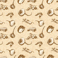 Vegetables pattern sketch seamless in retro style Royalty Free Stock Photo