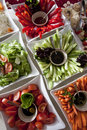 Vegetables a plates with tomato salad and cucumber Royalty Free Stock Image