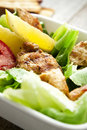 Vegetables salad with grilled chicken breast homemade caesar and toast Royalty Free Stock Photo