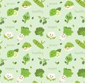 Vegetables seamless background in kawaii style vector