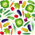 Vegetables seamless pattern. Vegetarian food. Isolated on white background.