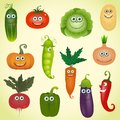 Vegetables set funny various cartoon Royalty Free Stock Image