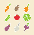 Vegetables set of icons Stock Photo