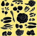 Vegetables set vector illustration of in silhouette mode Royalty Free Stock Images