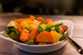 Vegetables side dish with carrots green beans and Stock Photography