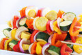 Vegetables on skewers to be grilled Royalty Free Stock Images