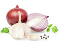 Vegetables spices cooking onions peppers white background Royalty Free Stock Image