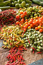 Vegetables and spices at market Stock Image
