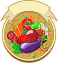 Vegetables sticker with ribbon various slices spread out on a wooden board all shadows are made without the use of transparencies Stock Photo