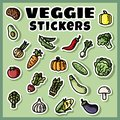 Vegetables stickers colorful set. Collection of veggie flat labels