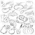 Vegetables vector illustration of fruits and collection in black and white Royalty Free Stock Images