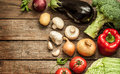 Vegetables on vintage wood background autumn harvest rural still life from above with free text space Stock Photos
