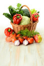 Vegetables in wicker basket Stock Photo