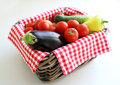 Vegetables in wicker basket display Royalty Free Stock Images