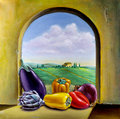 Vegetables by the window assorted on a overlooking a country landscape original oil painting on canvas Royalty Free Stock Photo