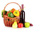 Vegetables and wine in a basket isolated Stock Image