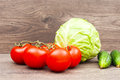 Vegetables on a wooden background ripe Royalty Free Stock Photos