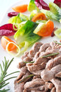 Vegetais e carne cozinhada, close up Fotografia de Stock Royalty Free