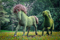 Vegetal horses from mosaicultures of montreal huge running in a field flowers coming the exposition mosaïcultures montréal in Royalty Free Stock Images