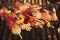 Vegetarian BBQ. Vegetable Shish Kebabs On Hot Flaming Grill, Clo Royalty Free Stock Photo