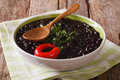 Vegetarian black bean soup close up in a bowl. horizontal Royalty Free Stock Photo