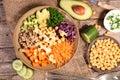 Vegetarian bowl salad on wood Stock Photography