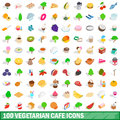 100 vegetarian cafe icons set, isometric 3d style