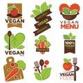 Vegetarian cafe menu vector icons templates set of vegetables and vegan heart leaf