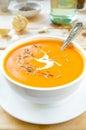Vegetarian carrot-pumpkin cream soup with garlic and cumin Royalty Free Stock Photo