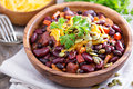 Vegetarian chili with red and black beans Royalty Free Stock Photo